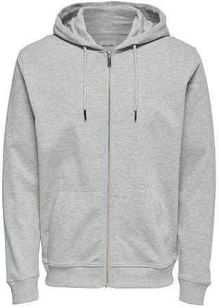 ONLY&SONS Férfi Basic Sweat Zip Hood Sweat csiszolt Noos Light Grey Melange (méret S)