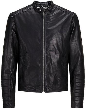 Jack&Jones Pánská bunda Jorspeedy Pu Jacket Black (Velikost L)