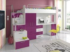Patrová postel se skříní a psacím stolem RAJS 4S, bílá/fialový lesk