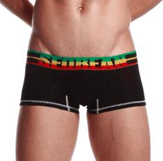 SEOBEAN čierne boxerky Flag s farebnou gumou v páse