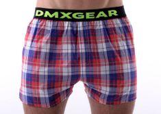 DMXGEAR luxusní pánské volné trenýrky Red Blue Tartan