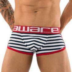 Aware Soho bielo-modré pruhované boxerky Matelot Trunks