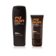PizBuin Sada slnečné starostlivosť na citlivú pleť Mlieko na opaľovanie SPF 50+ Allergy 200 ml + Krém na opa