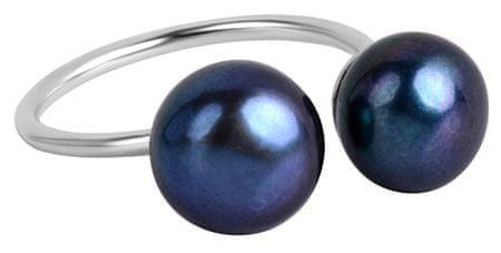 JwL Luxury Pearls Srebrny pierścionek z niebieskim podwójnym JL0433 srebro 925/1000