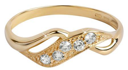 86a006140 Zlatý prsteň s kryštálmi 229 001 00125 (Obvod 57 mm) žlté zlato 585/ ...
