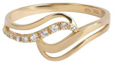 5719a78b6 Zlatý prsteň s kryštálmi 229 001 00639 (Obvod 55 mm) žlté zlato 585/ ...