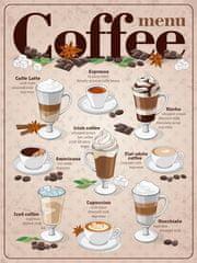 Postershop Plechová tabuľa - Coffee menu