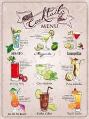 Postershop Plechová tabuľa - Coctail menu