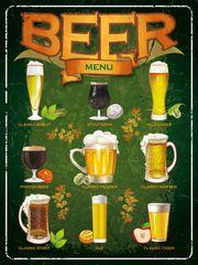 Postershop Plechová tabuľa - Beer menu