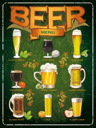 Postershop Fémtábla - Beer menu