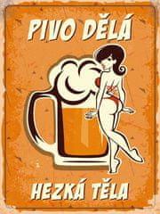 Postershop Plechová tabuľa- Pivo robí pekné telá (1)
