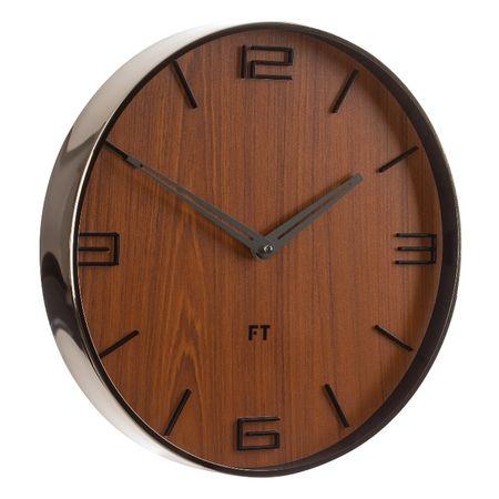 Future Time dizajnerski zidni sat FT3010BR, 30 cm, Flat walnut