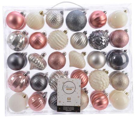 Kaemingk Set 60 ks vánočních ozdob Mix in Harmony
