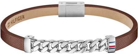 Tommy Hilfiger Hnědý kožený náramek pro muže TH2700953