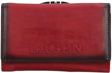 Lagen Portfel skórzany damski V-TPD-36 czerwony