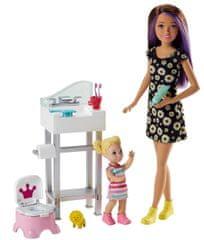 Mattel Barbie chůva herní set - panenka s květinovými šaty