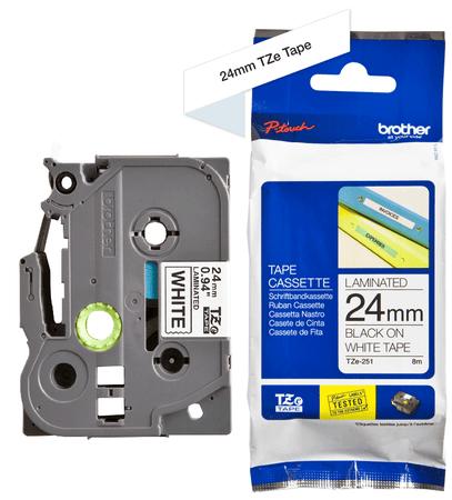 Brother trak za tiskalnike P-touch TZe, 24 mm, TZE251 bel/črn