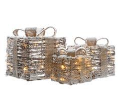 Kaemingk LED svetelná dekorácia - sada 3ks ratanových darčekov (zasnežených)