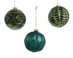 Kaemingk Set 12 ks vánočních ozdob s reliéfem, zelené, petrolejové, skleněné - použité