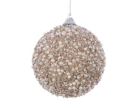 Kaemingk 12 darabos karácsonyfadísz szett gyöngyökkel, 8cm, kasmírbarna