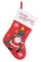 Kaemingk dekoracja świąteczna Skarpeta ze Świętym Mikołajem i choinką, czerwona