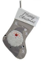 Kaemingk dekoracja świąteczna Skarpeta ze Świętym Mikołajem, szara