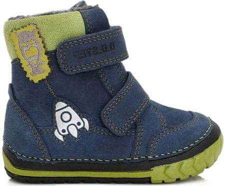D-D-step chłopięce buty zimowe z rakietą, 19, niebieskie