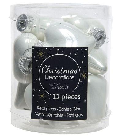 Kaemingk Vánoční ozdoby mini stříbrné srdce 12 ks