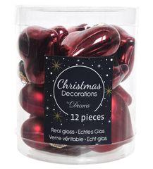 Kaemingk Vánoční ozdoby mini srdíčka červené 12 ks