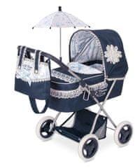 DeCuevas zložljiv otroški voziček za lutko dojenčka z dežnikom Clasic Romantik 2018-M