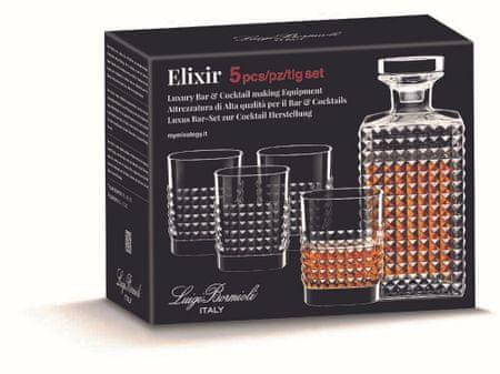 Luigi Bormioli Elixir 5-delni set kozarcev s steklenico za viski