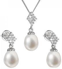 Evolution Group Luksuzen srebrni komplet s pravimi biseri Pavona 29018.1 (uhani, veriga, obesek) srebro 925/1000