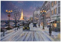 Kaemingk Svietiaci vianočný obraz Paris, LED žiarovky