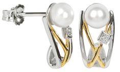 Silver Cat Ezüst fülbevaló gyönggyedl és kristállyal SC153 ezüst 925/1000