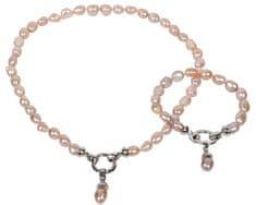 JwL Luxury Pearls Set ogrlice in zapestnice iz pravih roza biserov JL0130