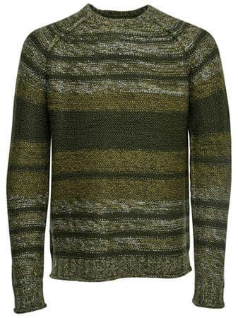 ONLY&SONS Męska Callen Sweater 3 Mel Striped Knit Reg Forest Night (rozmiar S)