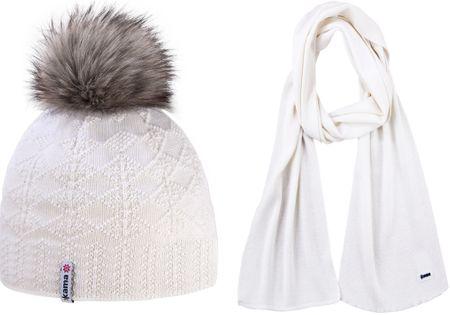 Kama Pletená Merino čepice a šála A109 + S08 bílá