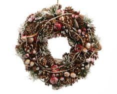 Kaemingk ozdoba świąteczna - wieniec adwentowy zdobiony, ze śniegiem, 33x8,5cm, sztuczny