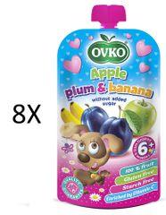 OVKO 8x Jablko + slivka + banán PO - 120g