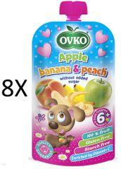 OVKO 8x Jablko + banán + broskyňa PO - 120g