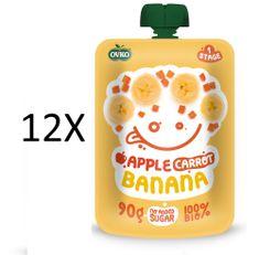 OVKO 12x BIO Jablko+Karotka+Banán PO - 90g