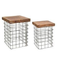 Mørtens Furniture Odkladacie stolíky Riset štvorcové, 30 cm, súprava 2 ks
