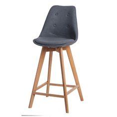 Mørtens Furniture Barová stolička s drevenou podnožou Norby čalúnená, sivá
