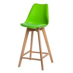 Mørtens Furniture Barová stolička s drevenou podnožou Norby