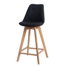 Mørtens Furniture Barová stolička s drevenou podnožou Norby čalúnená, čierna