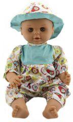 Teddies dojenček, 50 cm, trdno telo, z obleko s sadnim motivom in klobukom