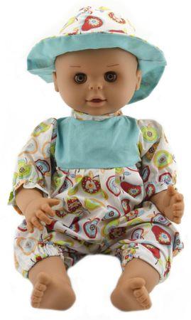 Teddies lalka dziecko 50 cm, twarde ciało, białe ubranko z motywem owoców + kapelusz