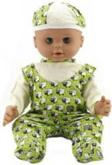 Teddies dojenček, 50 cm, trdo telo, z zelenimi hlačami in kapo z motivom ovčk