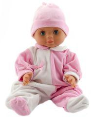 Teddies dojenček, 40 cm, z belo rožnatim bodijem in rožnato kapo