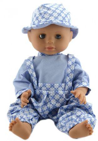 Teddies Baba 40 cm, kemény test, világos kék nadrág + ing + sapka